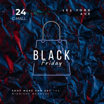 Black Friday Sale Glowing Shopping Bag | Square Video Template