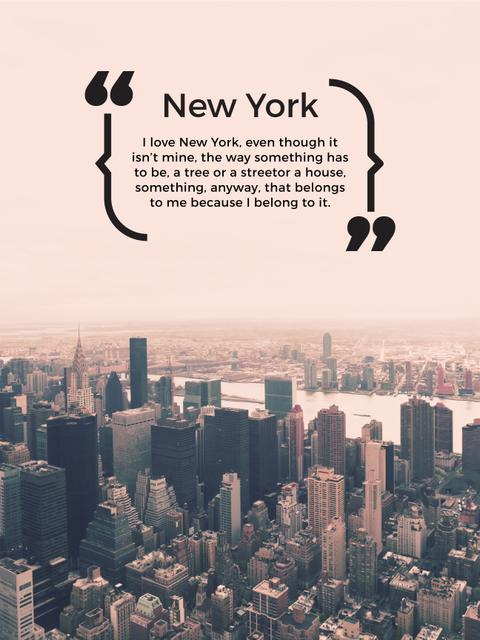 New York Inspirational Quote on City View Poster US – шаблон для дизайна