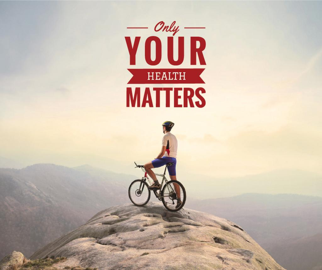 Cyclist on top of mountain with inspirational quote — Crear un diseño