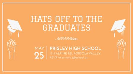 Graduates Day invitation in orange FB event cover Design Template