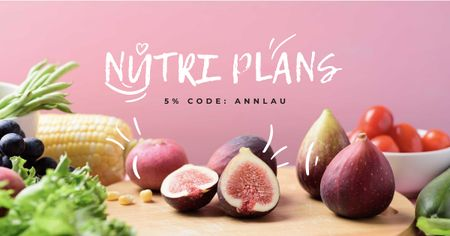 Template di design Nutri Plans offer with fresh groceries Facebook AD
