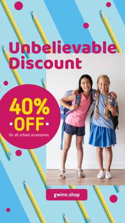 Plantilla de diseño de Back to School Offer Hugging Schoolgirls with Backpacks Instagram Story