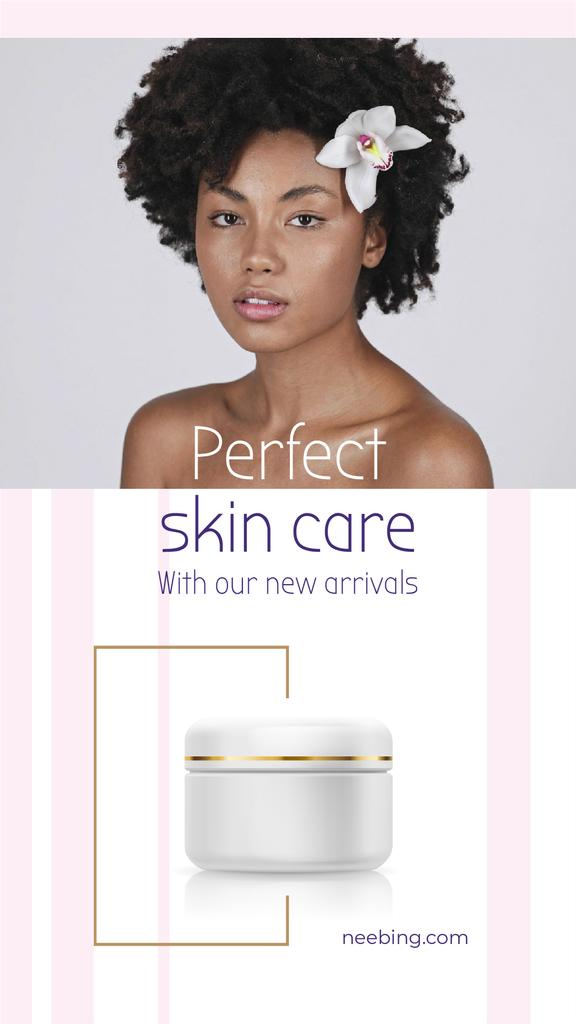 Skincare Ad Woman with Nude Face and Flower   Vertical Video Template — Create a Design