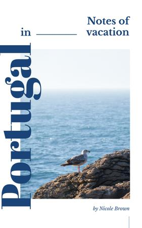 Plantilla de diseño de Portugal Tour Guide Seagull on Rock at Seacoast Book Cover