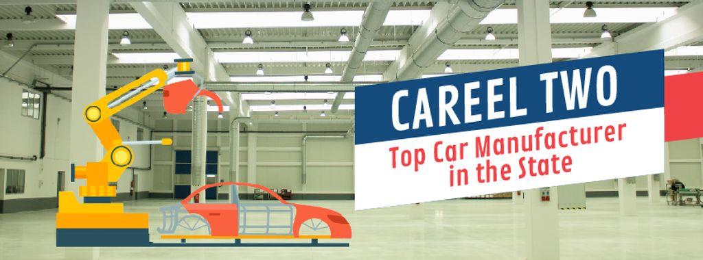 Robot assembling car on factory — Maak een ontwerp