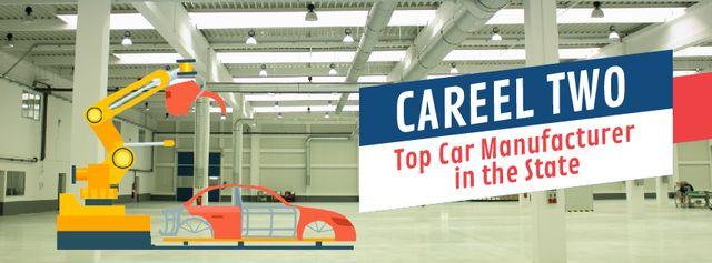 Plantilla de diseño de Robot assembling car on factory Facebook Video cover
