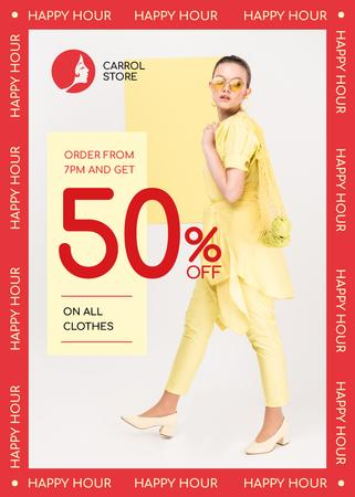Ontwerpsjabloon van Flayer van Clothes Shop Happy Hour Offer Woman in Yellow Outfit