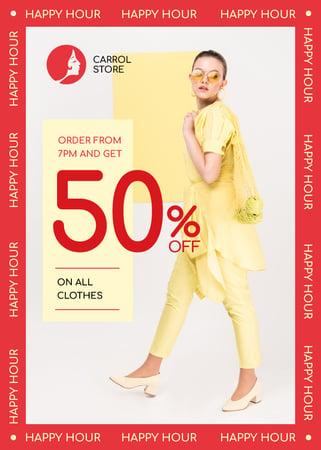 Plantilla de diseño de Clothes Shop Happy Hour Offer Woman in Yellow Outfit Flayer