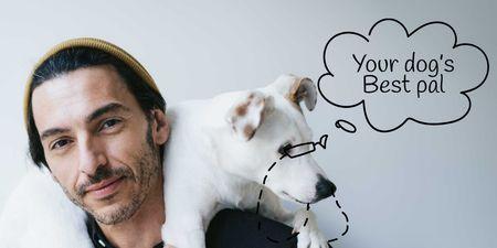 Plantilla de diseño de Man with Dog for Walking services Twitter