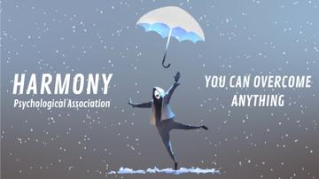 Man Jumping with an Umbrella in Blue | Full Hd Video Template