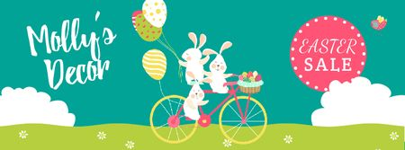 Modèle de visuel Easter Greeting with Bunnies and Colored Eggs - Facebook Video cover