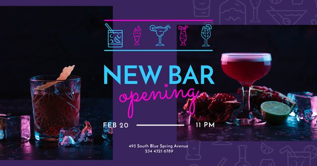 Bar Opening Announcement Cocktails on a Counter Facebook AD Design Template