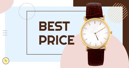 Accessories Sale Stylish Golden Watch Facebook AD Tasarım Şablonu