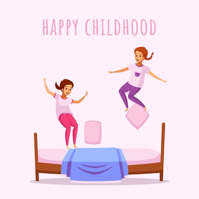 Designvorlage Children jumping on bed für Animated Post