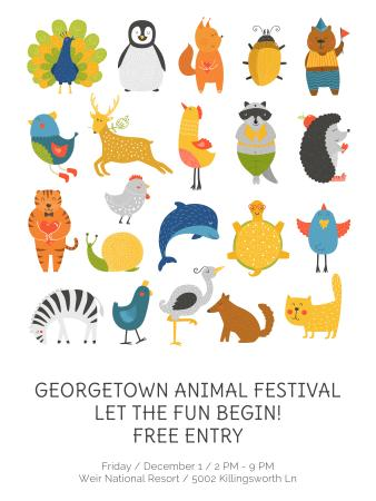 Animal Festival Announcement with Animals Icons Poster US Design Template