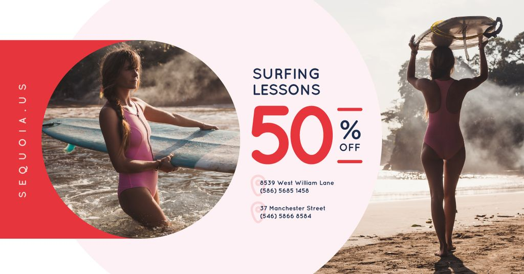 Surfing School Promotion Woman with Board —デザインを作成する