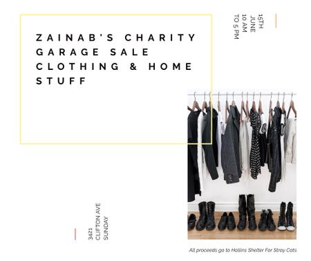 Charity Sale announcement Black Clothes on Hangers Facebookデザインテンプレート