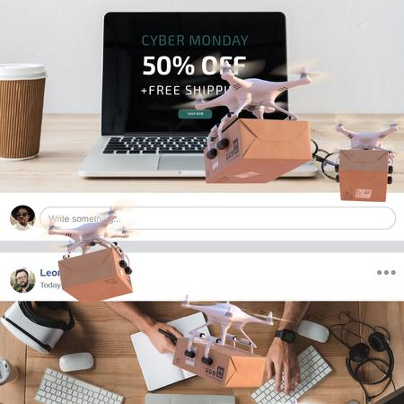 Cyber Monday Offer with Drone Delivery Animated Post Modelo de Design