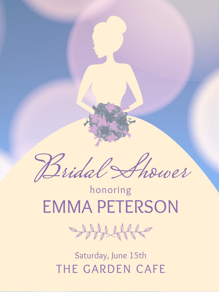 Bridal shower invitation with Bride silhouette — Modelo de projeto