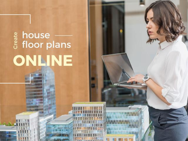 House Plans Online Service Architect with Laptop Presentation – шаблон для дизайна
