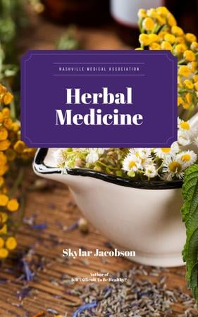 Medicinal Herbs on Table Book Cover Modelo de Design