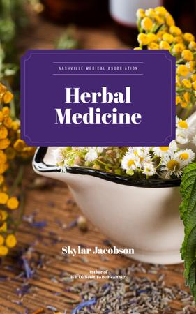 Medicinal Herbs on Table Book Cover Tasarım Şablonu