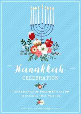 Hanukkah Celebration Invitation Menorah on Blue Invitation Modelo de Design