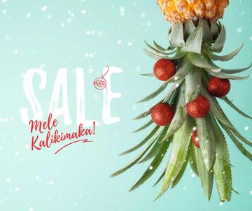 Mele Kalikimaka greeting with decorated Pineapple