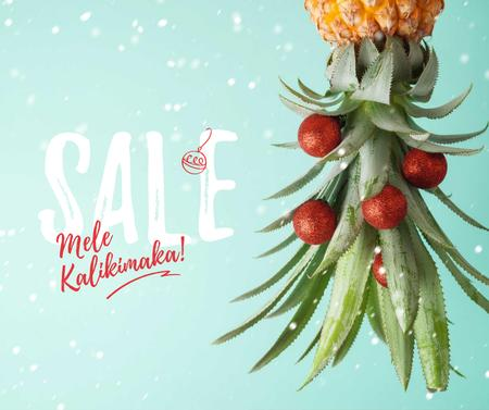 Mele Kalikimaka greeting with decorated Pineapple Facebookデザインテンプレート