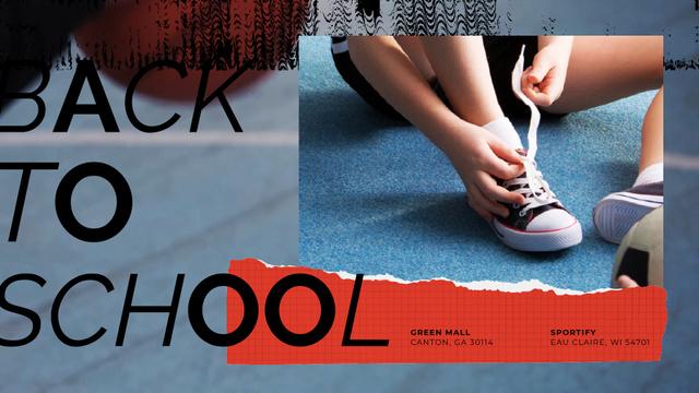 Back to School Offer Kid Tying Gumshoes  Full HD video Modelo de Design