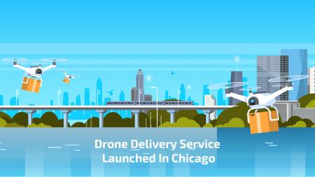 Drone Delivery Service in City Full HD video Tasarım Şablonu