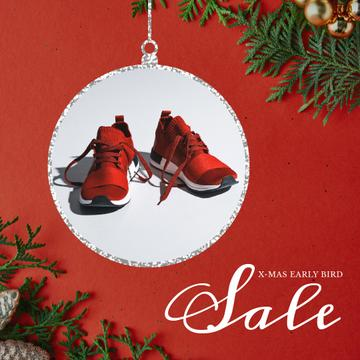 Xmas Offer Sport Shoes in Red | Square Video Template