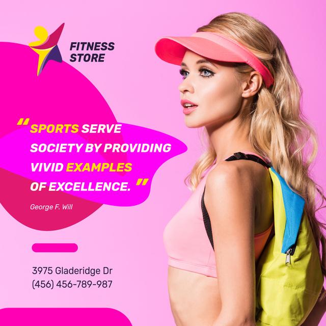 Modèle de visuel Sport Equipment Ad Sportive Young Girl in Pink - Instagram