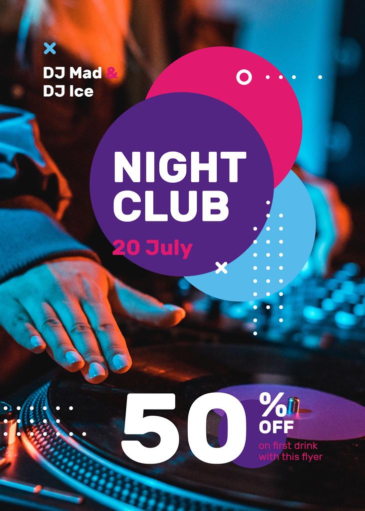 Modèle de visuel Club Invitation DJ Playing at Party - Flayer