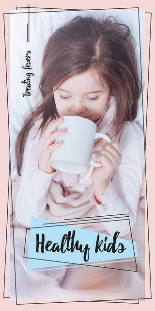Girl drinking from cup Graphic Design Template