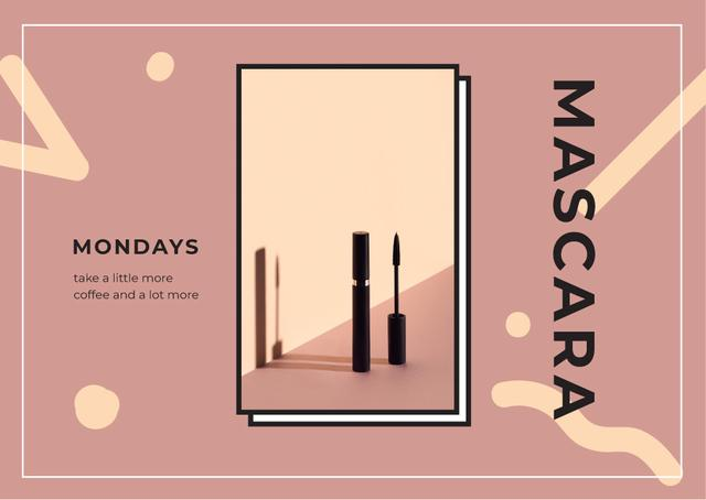 Black mascara tube Postcard Design Template