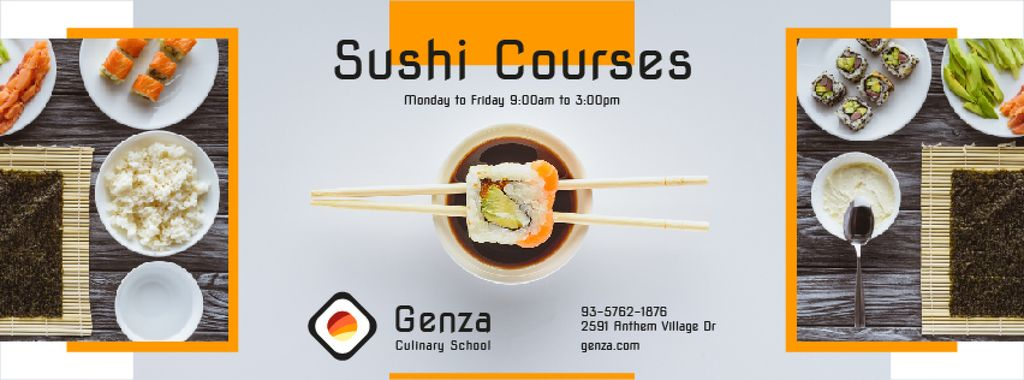Sushi Courses Ad with Fresh Seafood — Crear un diseño