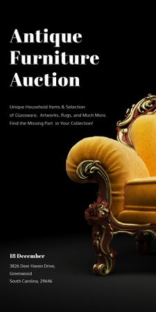 Plantilla de diseño de Antique Furniture Auction Luxury Yellow Armchair Graphic