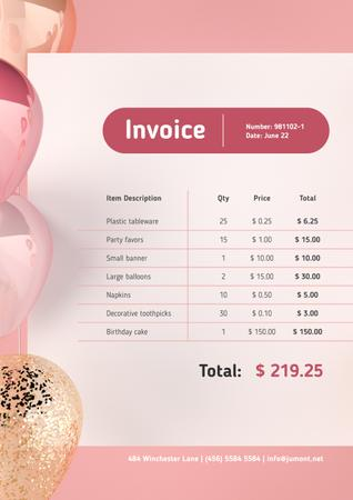 Ontwerpsjabloon van Invoice van Birthday Party Celebration with Pink Frame and Balloons