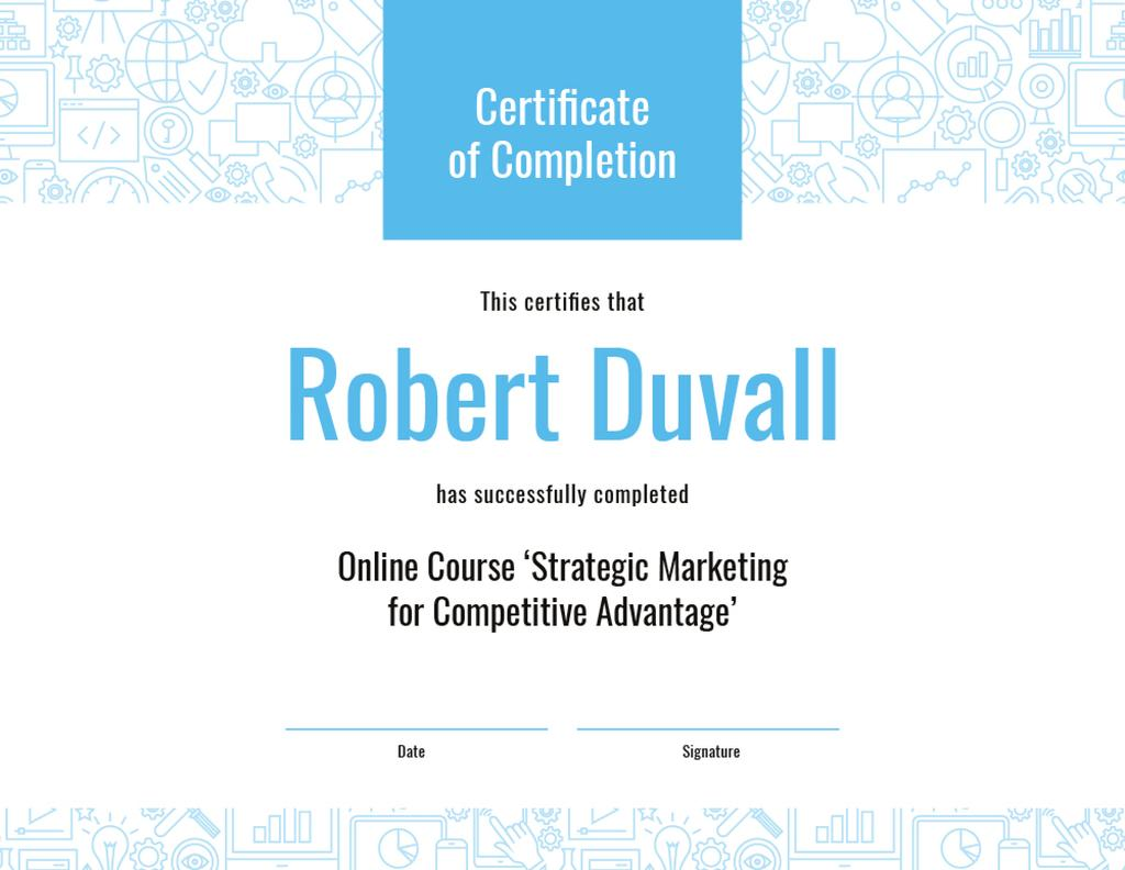Online Marketing Program Completion in blue — Maak een ontwerp