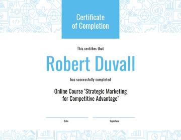 Online Marketing Program Completion in blue