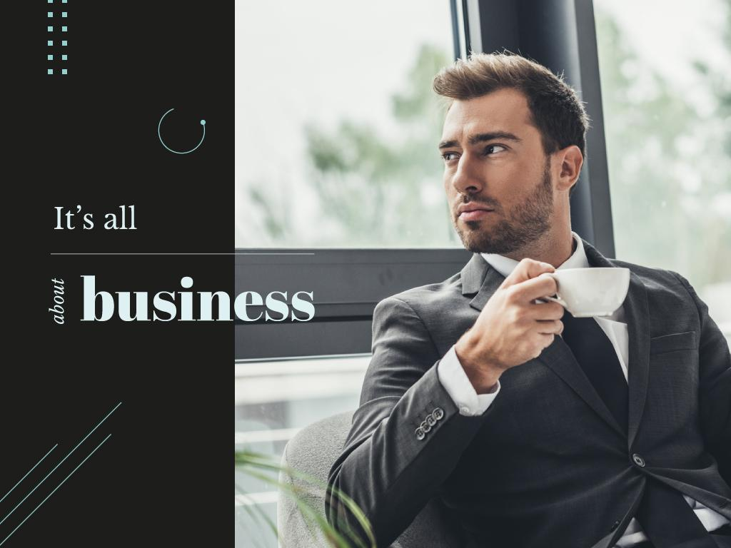 Business Inspiration with Man in Suit Holding Cup — Modelo de projeto