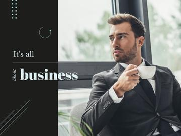 Business Inspiration Man in Suit Holding Cup