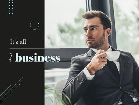Business Inspiration with Man in Suit Holding Cup Presentation – шаблон для дизайна