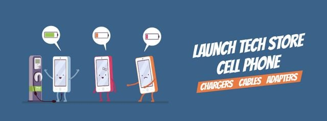 Cell phones charging Facebook Video cover Design Template