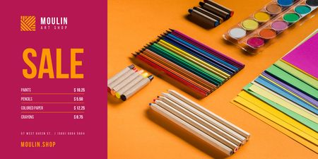 Art Supplies Sale with Colorful Pencils and Paint Twitter Design Template