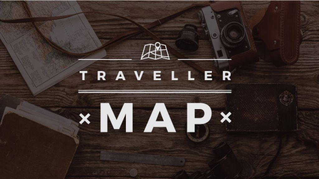 Traveler map text on wooden background with tourism items — Maak een ontwerp