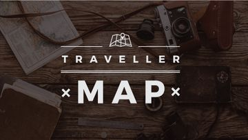 Traveler map text on wooden background with tourism items