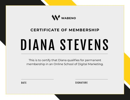 Ontwerpsjabloon van Certificate van Online Marketing School Membership