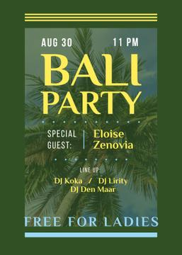 Bali Party Invitation Palm Tree | Flyer Template